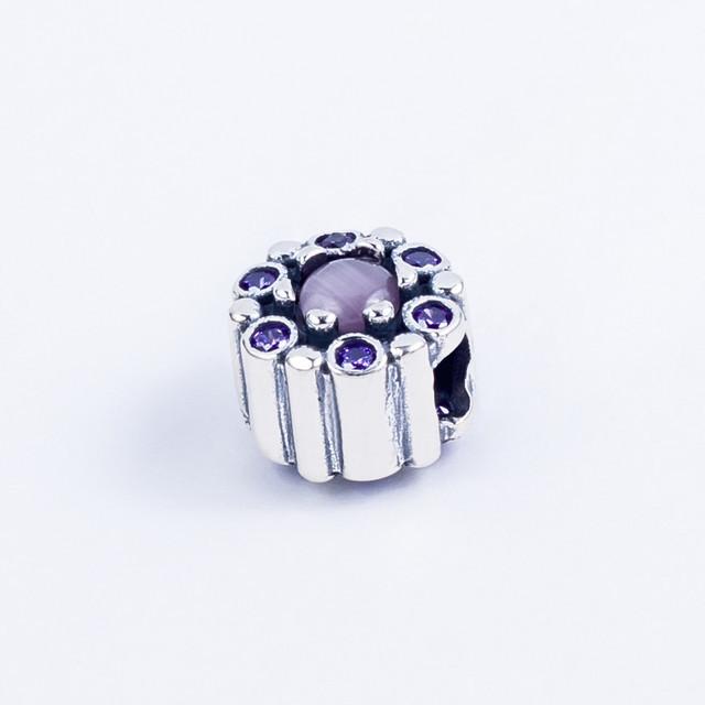 """Серебряный Шарм (бусина) """"Необычный цветок"""" в стиле Pandora (Пандора) с камнями"""