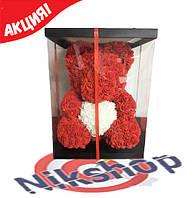 Мишка из 3D роз высота 40 см красный с сердечком в подарочной коробке