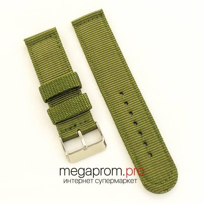 Тканинний ремінець для годинника Amst green 22мм (07638)