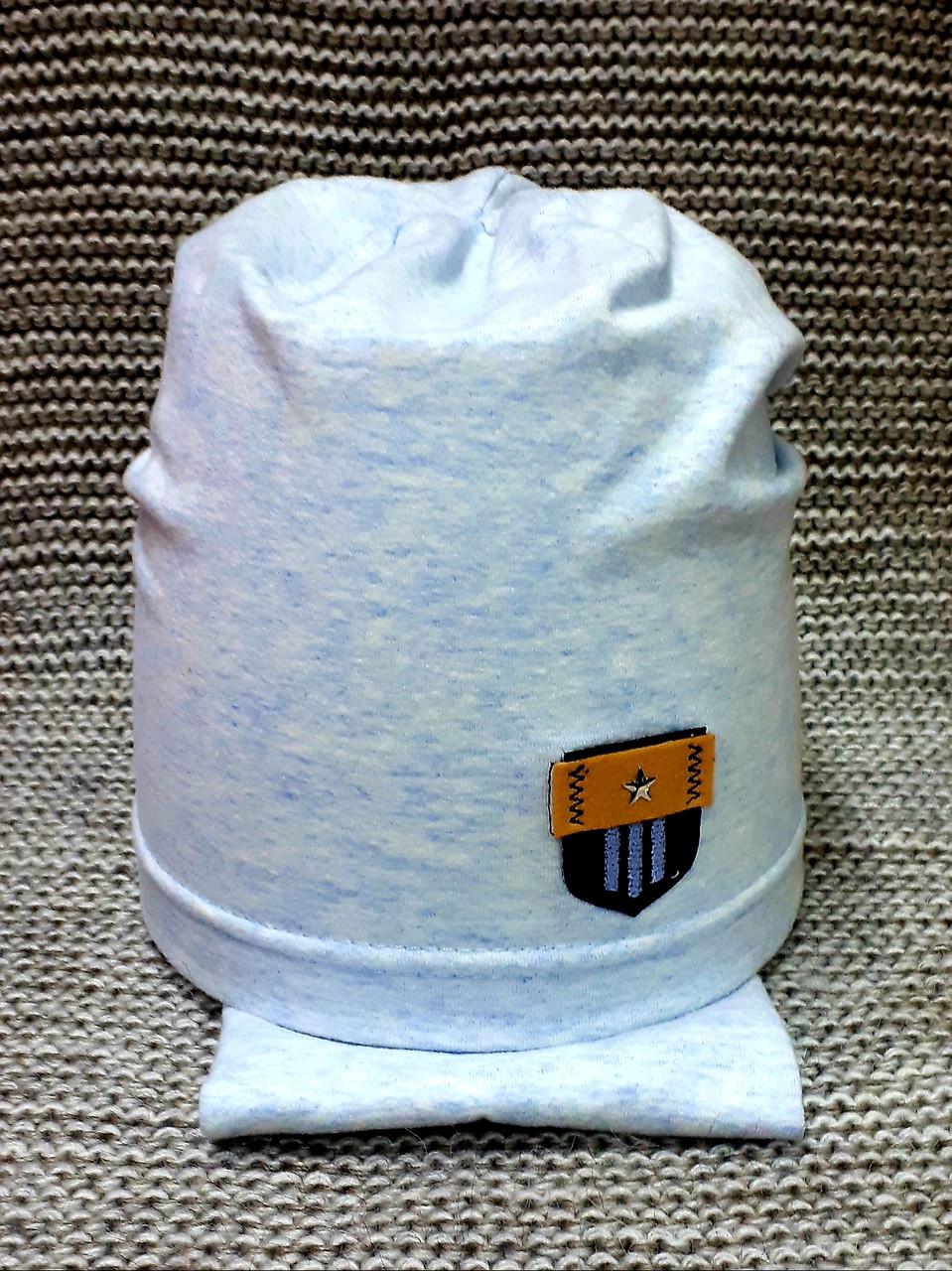 Комплект шапка + хомут  на мальчика весна-осень голубого цвета Fido (Польша) размер 46 48 50