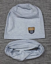 Комплект шапка + хомут  на мальчика весна-осень голубого цвета Fido (Польша) размер 46 48 50, фото 2