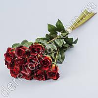 Букет искусственных роз, красные, 12 шт, 43 см