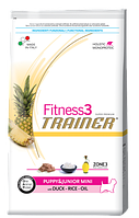 Сухой корм Trainer (ТРЕНЕР) Fitness3 (ФИТНЕС) Puppy&Junior Mini With Duck  - Rice - Oil питание для щенков мелких пород 0.8 кг.