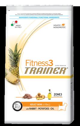 Сухой корм Trainer (ТРЕНЕР) Fitness3 (ФИТНЕС) Adult Mini With Rabbit - Potatoes - Oil питание для взрослых собак мелких пород  0.8 кг.