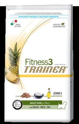 Сухой корм Trainer (ТРЕНЕР) Fitness3 (ФИТНЕС) Adult Mini With Duck - Rice - Oil  питание для взрослых собак мелких пород  0.8 кг.