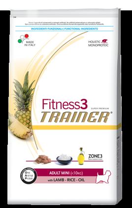 Сухой корм Trainer (ТРЕНЕР) Fitness3 (ФИТНЕС) Adult Mini With Lamb - Rice - Oil питание для взрослых собак мелких пород 0.8 кг.