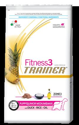 Сухой корм Trainer (ТРЕНЕР) Fitness3 (ФИТНЕС) Puppy&Junior Medium&Maxi With Duck - Rice - Oil полноценное средних и крупных пород 12.5 кг.