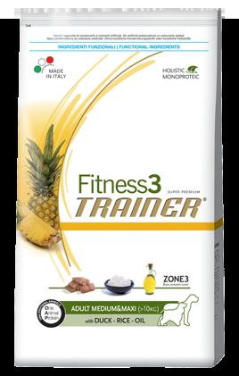 Сухой корм Trainer (ТРЕНЕР) Fitness3 (ФИТНЕС) Adult Medium&Maxi With Duck - Rice - Oil питание для взрослых собак средних крупных пород 3 кг.
