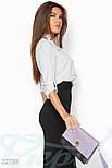 Светло-серая рубашка на запах с отложным воротником, фото 2