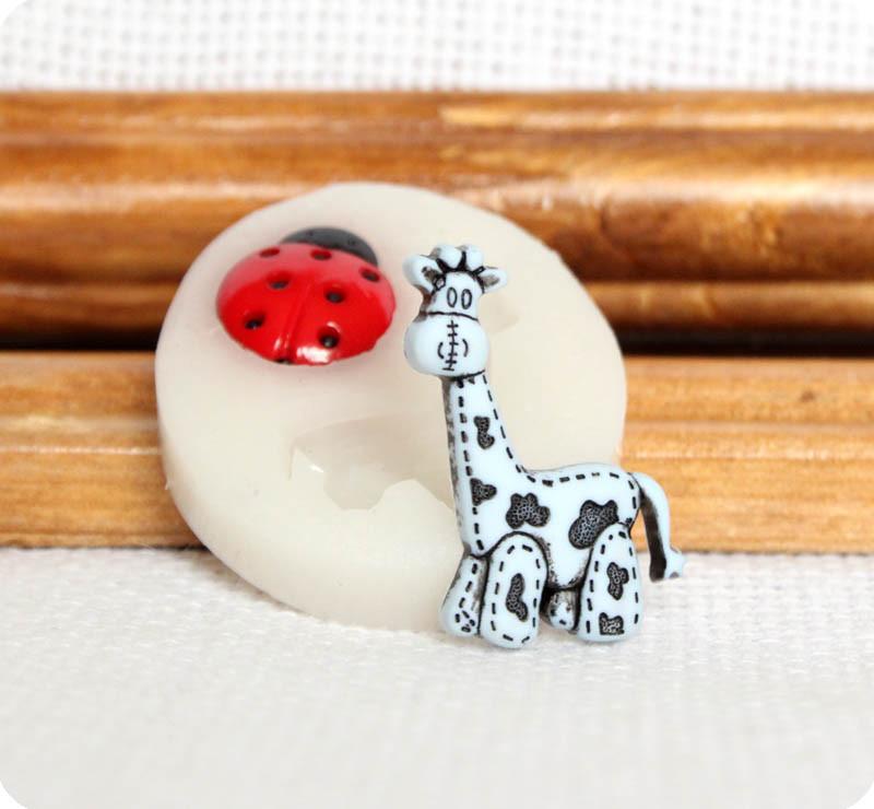 Силиконовый молд жирафика и божьей коровки