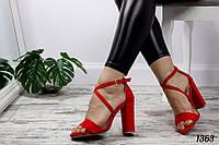 Босоножки Eva с ремешком накрест на каблуке красные, фото 1