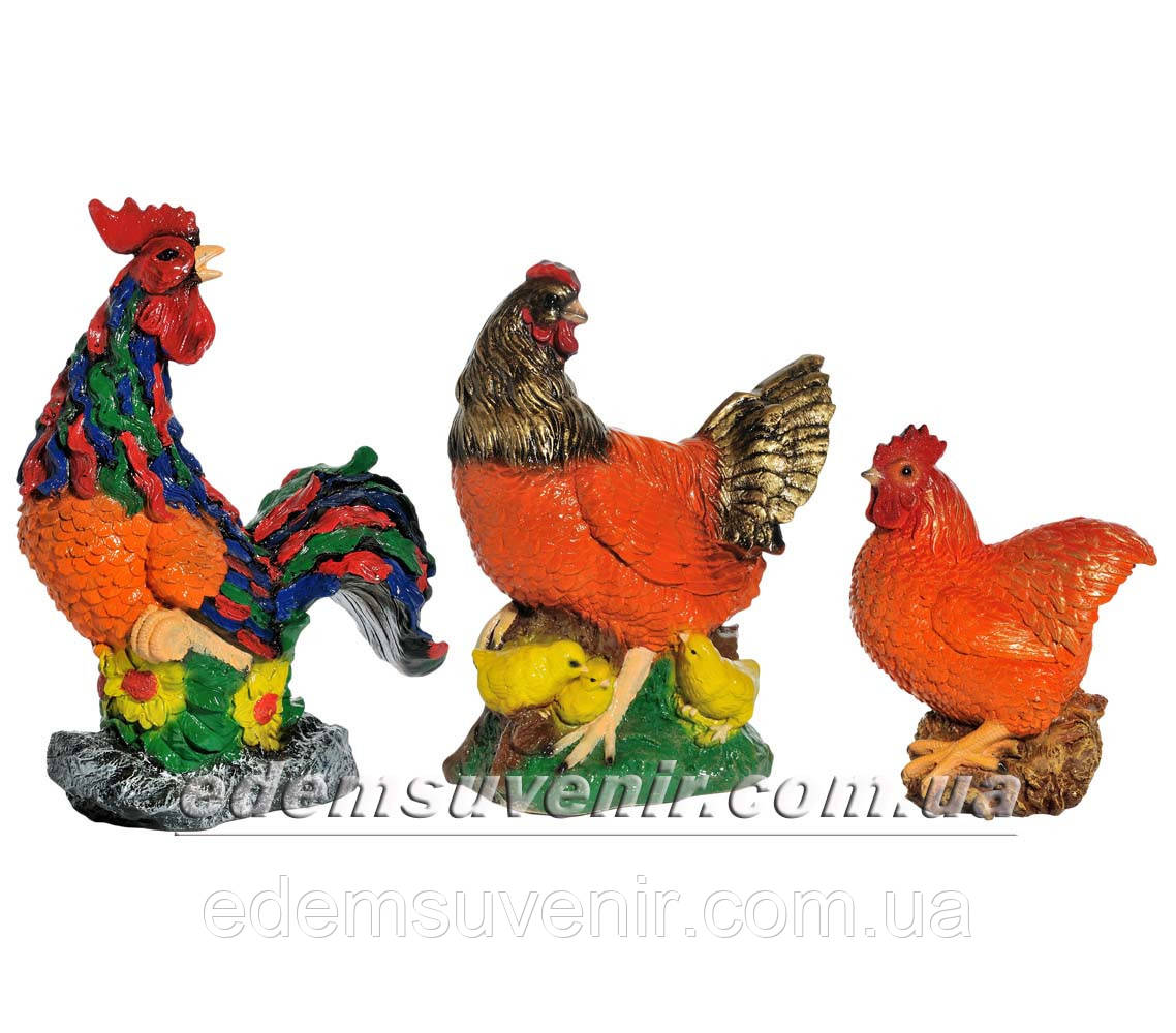 Садовая фигура Петух Петя, Наседка и Курица малая