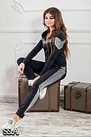 Женский спортивный комбинированный костюм штаны кофта чёрный 42-44 46-48 50-52, фото 1