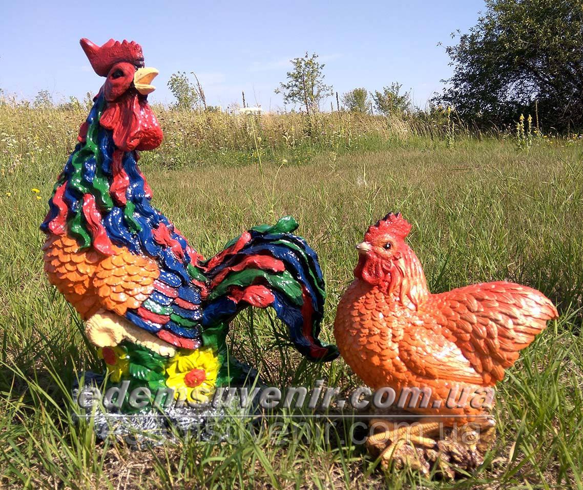 Садовая фигура Петух Петя и Курица малая