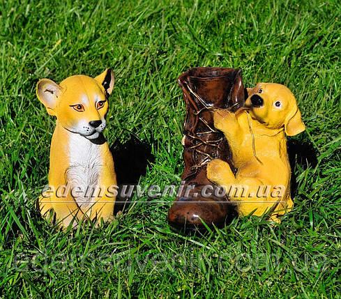 Садовая фигура Симба и Ботинок со щенком, фото 2