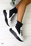 Женские ботинки на толстой платформе Сезон: деми Материал: натуральная кожа + обувной стрейч Цвет: белый + ч