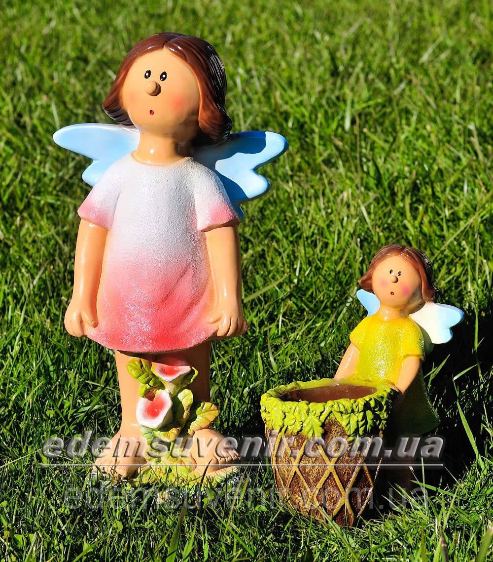 Садовая фигура Фея луговая средняя и Фея цветочник малая