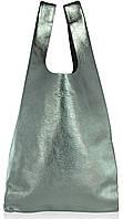 Сумка женская кожаная POOLPARTY Leather Tote серебро, фото 1