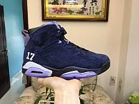 Кроссовки Nike Air Jordan 6  Blue suede реплика