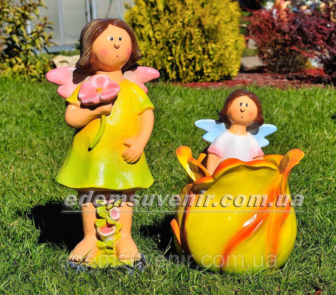 Садовая фигура Фея луговая средняя, Фея цветочная большая и Тюльпан