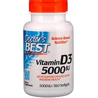 Витамин D3, Doctor's Best, Vitamin D3, 5000 МЕ, 360 капсул
