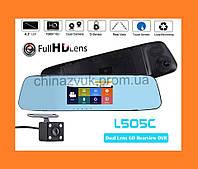 Зеркало видеорегистратор DVR L505C. Cенсорное, 2 камеры, 1080p