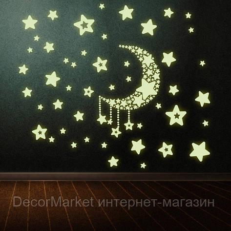 Наклейки на стену, светящиеся в темноте. САЛАТОВАЯ ЛУНА СО ЗВЕЗДАМИ , фото 2