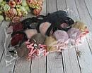 Резинки для волос с помпонами и короной в стразах 12 шт/уп., фото 5
