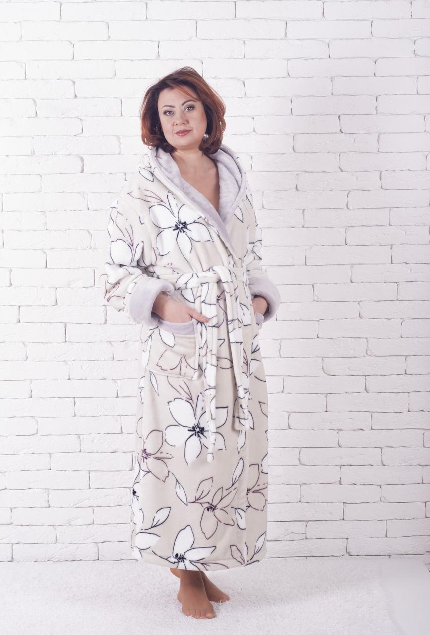 Халат махровый женский лилия
