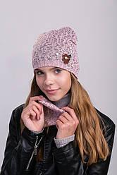 Стильная шапка и хомут для девочек подкладка х/б р 50-52. 4шт в упаковке