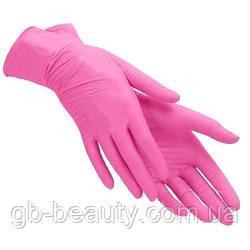 Перчатки нитриловые неопудренные РОЗОВЫЕ, Размер S (1 пара)