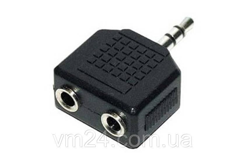 Переходник аудио mini Jack 3.5mm (M) -) 2 х mini Jack 3.5 (F)