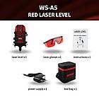 WOSAI 5 линий 6 точек 4H1V ❌ КРАСНЫЙ ЛУЧ ➜ до 50м 🔴 лазерный уровень нивелир WS-A5 ПОЛНАЯ КОМПЛЕКТАЦИЯ, фото 3