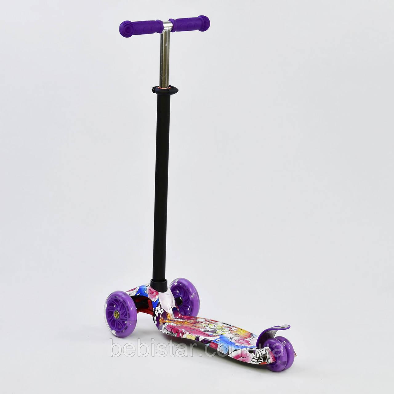 Самокат дитячий графіті фіолетове MAXI Best Scooter зі світними фіолетовими колесами від 3 років
