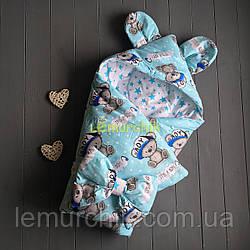 Конверт-одеяло с капюшоном и ушками, на синтепоне, Мишка Бой