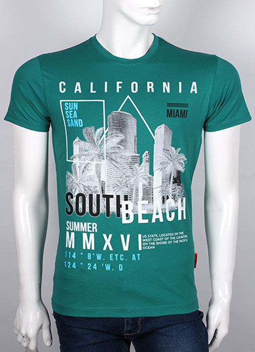 "Молодежная футболка Валимарк, темно-зеленый,  ""California 19065"""