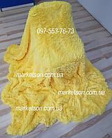 Покрывало плед травка 220х240 бамбуковое меховое пушистое с длинным ворсом Koloco Желтый