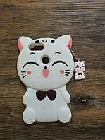 Объемный 3d чехол для Huawei P Smart Кошечка белая