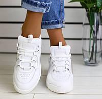 02b22fde Модные женские кожаные кроссовки криперы хайтопы на платформе белые  RE52JK04-1KI