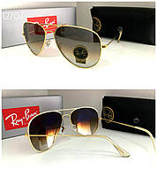 Женские солнцезащитные очки Ray Ban реплика коричневый градиент в оправе  золото линза стекло 4eb09e506894f