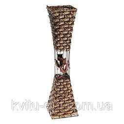 Напольная плетеная ваза из роганта квадрат белая