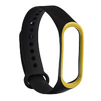 Ремешок для фитнес браслета Xiaomi Mi Band 3 и 4 Black with yellow, фото 3