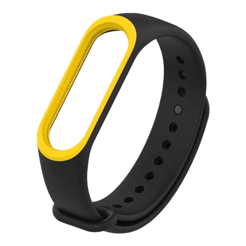 Ремешок для фитнес браслета Xiaomi Mi Band 3 и 4 Black with yellow