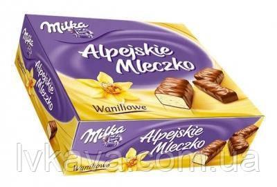 Конфеты птичье молоко с ванильным  вкусом Milka Alpejskie Mleczko  , 330 гр