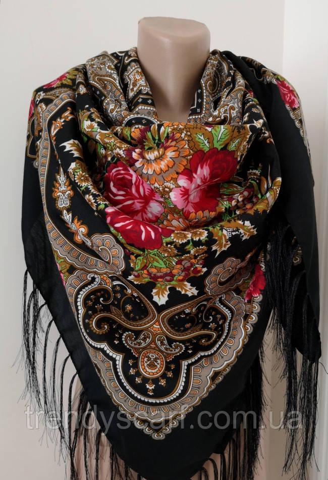 Женский Павлопосадский платок шерстяной.Черный розовый бежевый  Цветы розы с шелковой бахрамой140\140