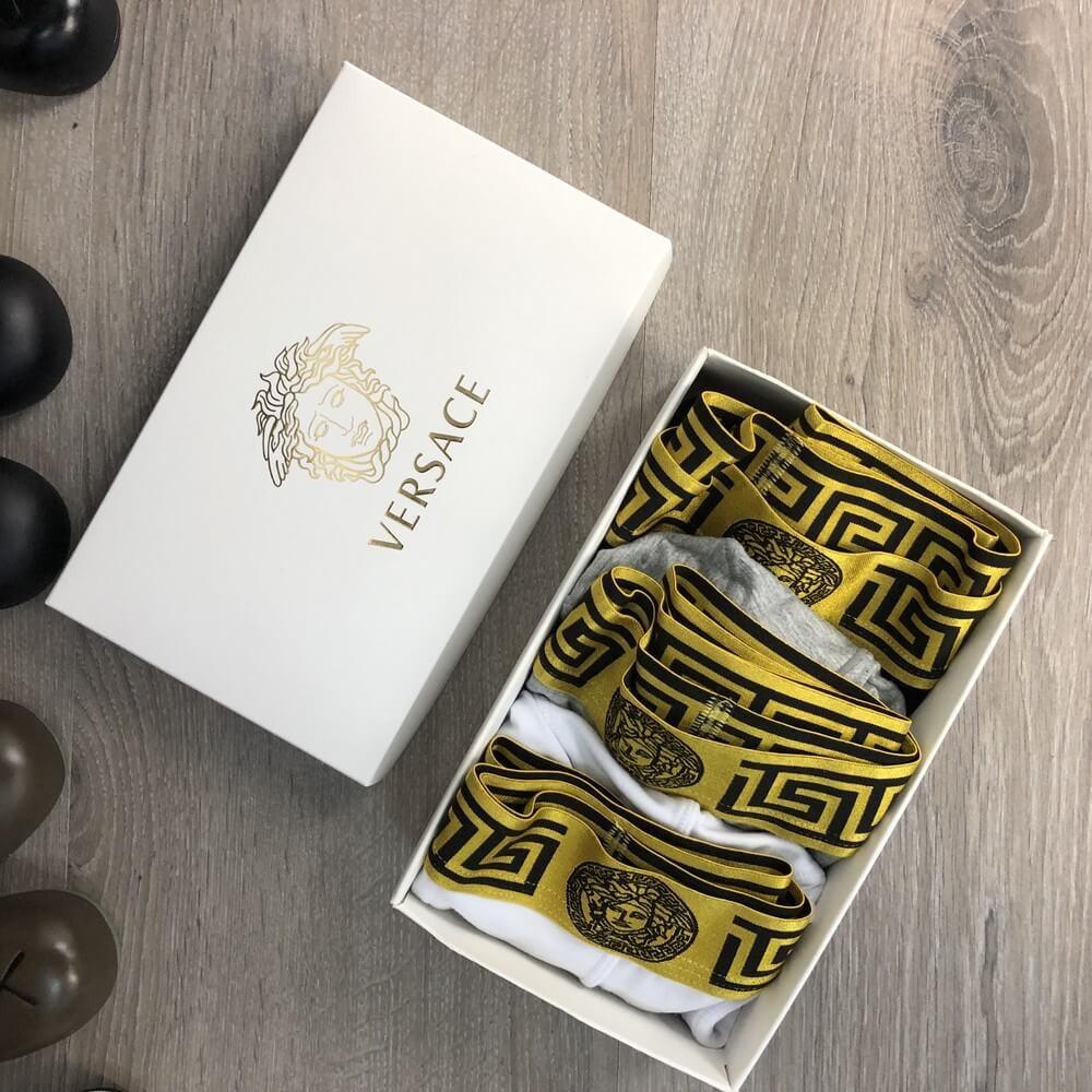 Подарочный набор мужских трусов в стиле Versace 3 шт. ТОП-качество