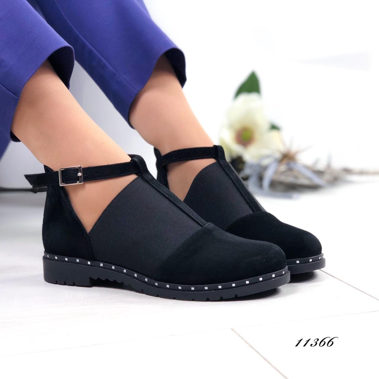 Туфли черные натуральная замша 11366