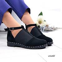 Туфли черные натуральная замша 11366, фото 1