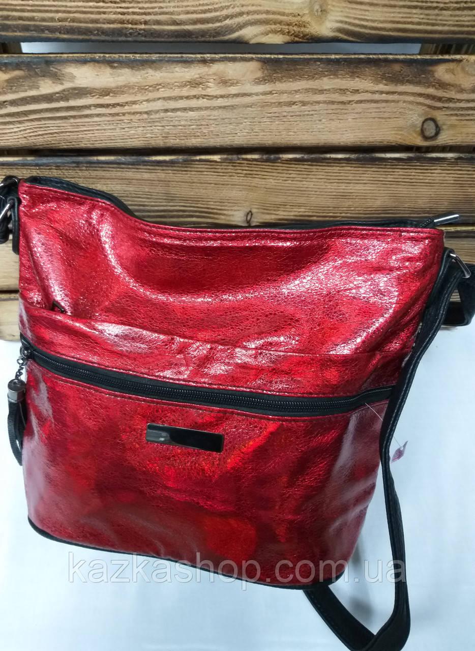 Женский клатч красного цвета, один отдел, лазерная обработка, регулируемый ремешок