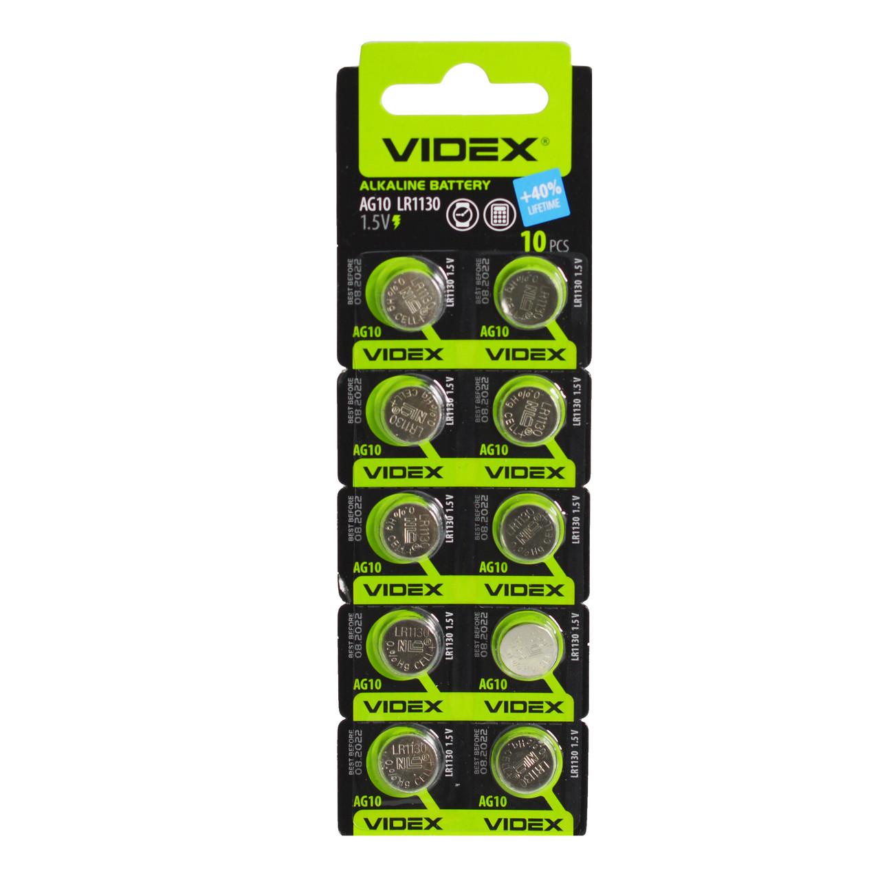 Батарейка VIDEX AG10(1130) BLI 10